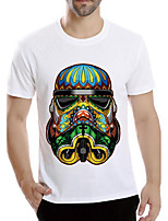 Men's Print Casual T-ShirtPolyester Short Sleeve-White
