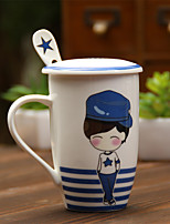 1PC Novelty Gift Ceramic Cup  Couples Cup  Navy Wind  Cup(Pattern is  Random)