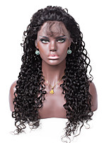 No shedding No tangle Curly Color 1B Light Brown Swiss Lace 130% density Human Hair Lace Front Wig