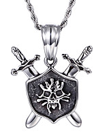 Kalen®2016 New  Punk 316L Stainless Steel Rock Viking Skeleton Skull Pendant Necklace With 76cm Long Chain Cool Gifts