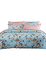 Blumen Bettbezug-Sets 4 Stück Polyester Muster Reaktivdruck Polyester ca. 1,50 m breites Doppelbett4-teilig (1 Bettbezug, 1 Bettlaken, 2