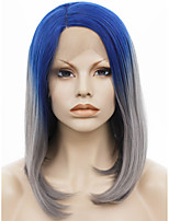 IMSTYLE 14Short Gray Hair With Blue Root Natural Straight Synthetic Wigs Lace Front
