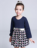 Girl's Casual/Daily Print DressCotton / Polyester Winter / Fall Blue