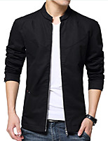 Men's Long Sleeve Casual / Work Jacket Coat Cotton / Polyester Solid Regular Outerwear