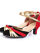 Non Customizable Women's Dance Shoes Leather Leather Latin Heels Stiletto Heel Practice Black / Red / Silver / Gold