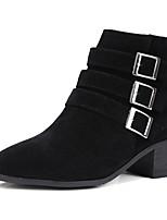 נשים-מגפיים-דמוי עור-מגפי אופנה-שחור אפור Almond-משרד ועבודה שמלה יומיומי-עקב עבה