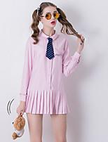 Feminino Camisa Vestido,Happy-Hour Fofo Estampado Colarinho de Camisa Acima do Joelho Manga Longa Rosa Poliéster Outono Cintura Média