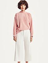 LIANGSANSHI  Women's Casual/Daily Simple Fall T-shirt,Solid Turtleneck Long Sleeve Pink Polyester Medium