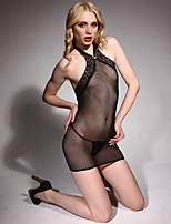 Feminino Super Sensual Roupa de Noite,Sexy Estampado,Fino Náilon Preto Mulheres