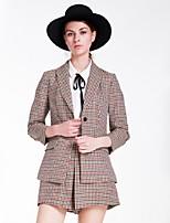 Goelia Women's Deep V 3/4 Length Sleeve Blazers & Suits Red-167R6E410