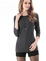 LUTING Women's Round Neck Long Sleeve T Shirt Black / Gray-6039
