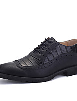 Men's Oxfords Spring / Fall Comfort / Round Toe PU Casual Low Heel Lace-up Black / Yellow / Red Others