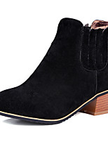Women's Boots Fall / Winter Comfort PU Casual Flat Heel Slip-on Black / Gray Sneaker
