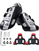 Cycling Shoes Unisex Outdoor / Road Bike Sneakers Damping / Cushioning Black / Silver-sidebike And SPD Lock Sheet