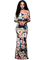 Women's Going out / Party/Cocktail Sexy / Simple Bodycon DressFloral Boat Neck Maxi Short Sleeve