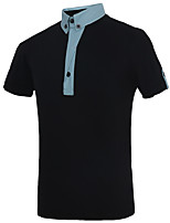 Men's Casual Cotton Color Stitching Cardigan Short Sleeve Polo Lapel Business T-shirt