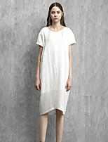 Rizhuo Maternity Casual/Daily Simple Loose DressSolid Round Neck Midi Short Sleeve White Cotton / Linen Summer