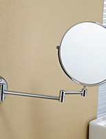 MOLI Modern Bathroom Wall Mount 8 Inch Copper Frame Round 2-face Foldable Arm 3 x Magnification Makeup Mirror
