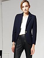 C+IMPRESS  Women's Work Simple All Seasons BlazerSolid Notch Lapel Long Sleeve Blue