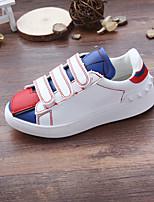 Белый-Для девочек-На каждый день-Полиуретан-На плоской подошве-Удобная обувь / С круглым носком-Кеды