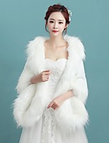 Women's Wrap Shawls Sleeveless Faux Fur Ivory Wedding / Party/Evening / Casual Off-the-shoulder / furOpen