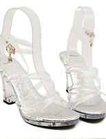 Women's Sandals Summer PVC Dress Casual Platform Crystal Heel Clear Other