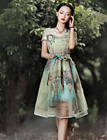 Our Story Women's Going out Chinoiserie Sheath DressFloral V Neck Knee-length Short Sleeve Green Rayon