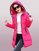 Women's Print Blue / Pink / White / Black / Green Padded Coat,Street chic Hooded Long Sleeve