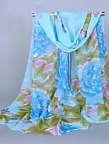Women's Chiffon Flowers Print Scarf White/Pink/Purple/Blue
