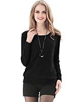 LUTING Women's Round Neck Long Sleeve T Shirt Black / Gray-6038