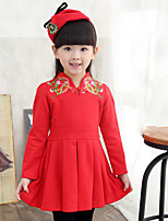 Girl's Casual/Daily Solid DressCotton Spring / Fall Pink / Red