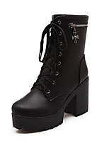 Women's Round Closed Toe High Heels Lace Up Solid Boots