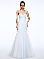 Lanting Bride® Fit & Flare Wedding Dress Sweep / Brush Train Sweetheart Tulle with Appliques / Side-Draped