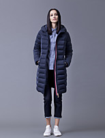 Women's Solid Blue Down CoatSimple Hooded Long Sleeve