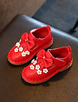 Girl's Flats Spring Summer Fall Flats PU Casual Flat Heel Bowknot Flower Pink Red White Others