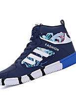 Women's Sneakers Spring Fall Comfort PU Outdoor Flat Heel Lace-up Black Blue Black and Red Walking