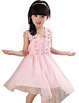 Girl's Casual/Daily Solid DressCotton / Others Summer Pink / White