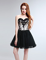 Cocktail Party Dress A-line Sweetheart Short / Mini Tulle with Appliques