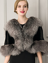 Women's Wrap Capelets Sleeveless Faux Fur Black Wedding / Party/Evening / Casual Shawl Collar