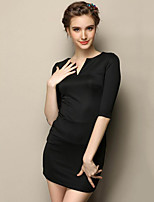 Women's Going out Simple Bodycon DressSolid V Neck Mini  Sleeve Black Nylon Fall Mid Rise Stretchy Medium