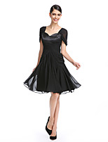 TS Couture® Cocktail Party Dress A-line Queen Anne Knee-length Chiffon with Criss Cross / Ruching