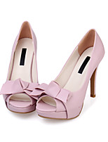 Women's Sandals Summer Platform Sheepskin Casual Stiletto Heel Bowknot Green / Pink / Beige Others