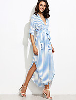 Women's Holiday Vintage Chiffon DressStriped Deep V Maxi Long Sleeve Blue Polyester Fall High Rise Inelastic Thin