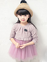 Girl's Casual/Daily Solid DressCotton Fall Blue / Pink / Gray