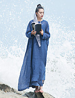 Ramie Cotton Women's Beach Vintage A DressSolid Round Neck Maxi Long Sleeve Blue Linen Spring