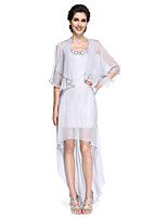 Lanting Bride® Sheath / Column Mother of the Bride Dress - Elegant Asymmetrical Half Sleeve Chiffon with Sequins