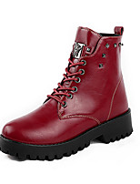 Women's Boots Fall / Winter Combat Boots / Round Toe PU Outdoor Flat Heel Rivet / Lace-up Black / Brown / Red