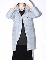 Newbefore Women's Solid Blue / Black Down CoatSimple Hooded Long Sleeve