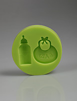 3D baby accessories bib bottle silicone cake mold decoration Baby birthday