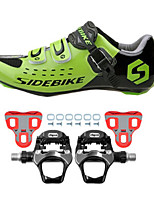 SD001 Cycling Shoes Road Bike Sneakers Damping / Cushioning Green/Black-sidebike And WeigeR251 Rock Pedals